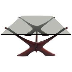 "Vintage Danish Teak ""X"" Base Coffee Table by Illum Wikkelsø"
