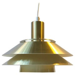 Vintage Danish Tiered Brass Pendant Lamp from Jeka, 1970s