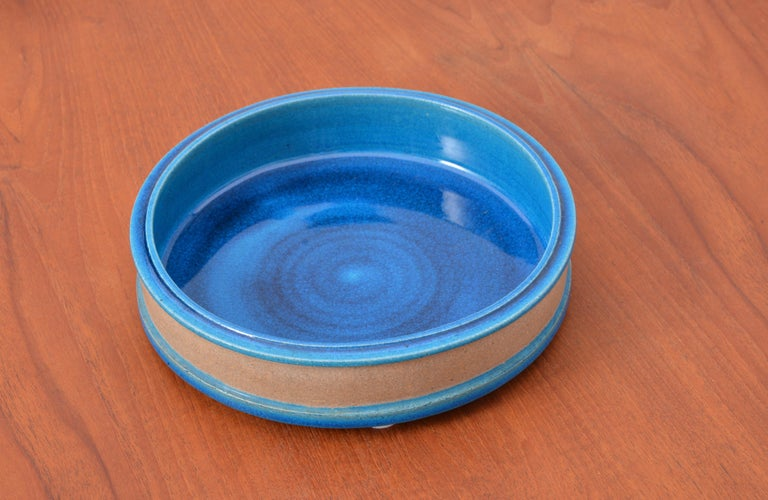 Glazed Vintage Danish Turquoise Ceramic Bowl by Nils Kähler For Sale