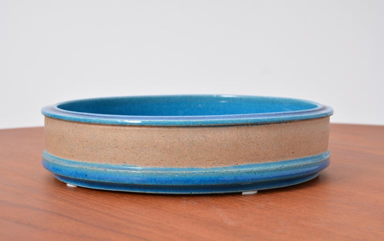 Vintage Danish Turquoise Ceramic Bowl by Nils Kähler In Good Condition For Sale In Berlin, DE