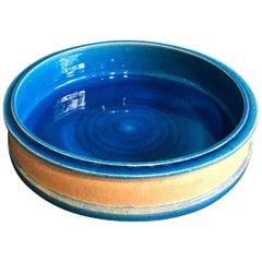 Vintage Danish Turquoise Ceramic Bowl by Nils Kähler