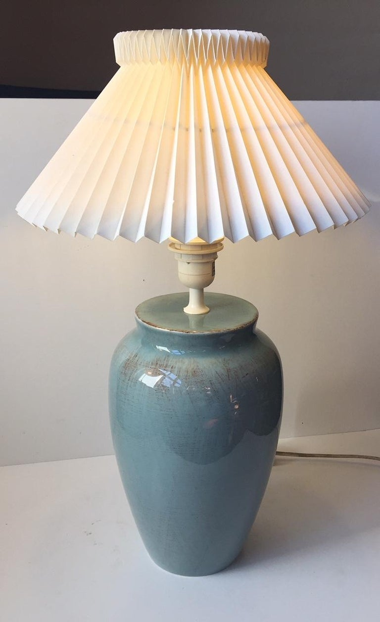 Vintage Danish Turquoise Ceramic Table Lamp From Vitrika And Junge