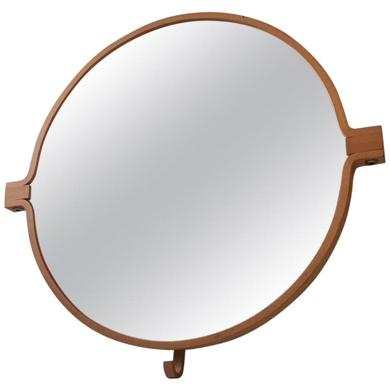 Vintage Danish Wall Mirror in Beech by Indan, 1980s For Sale