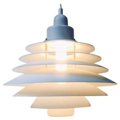 Vintage Danish White Tiered Ceiling Lamp from Design-Light, 1970s