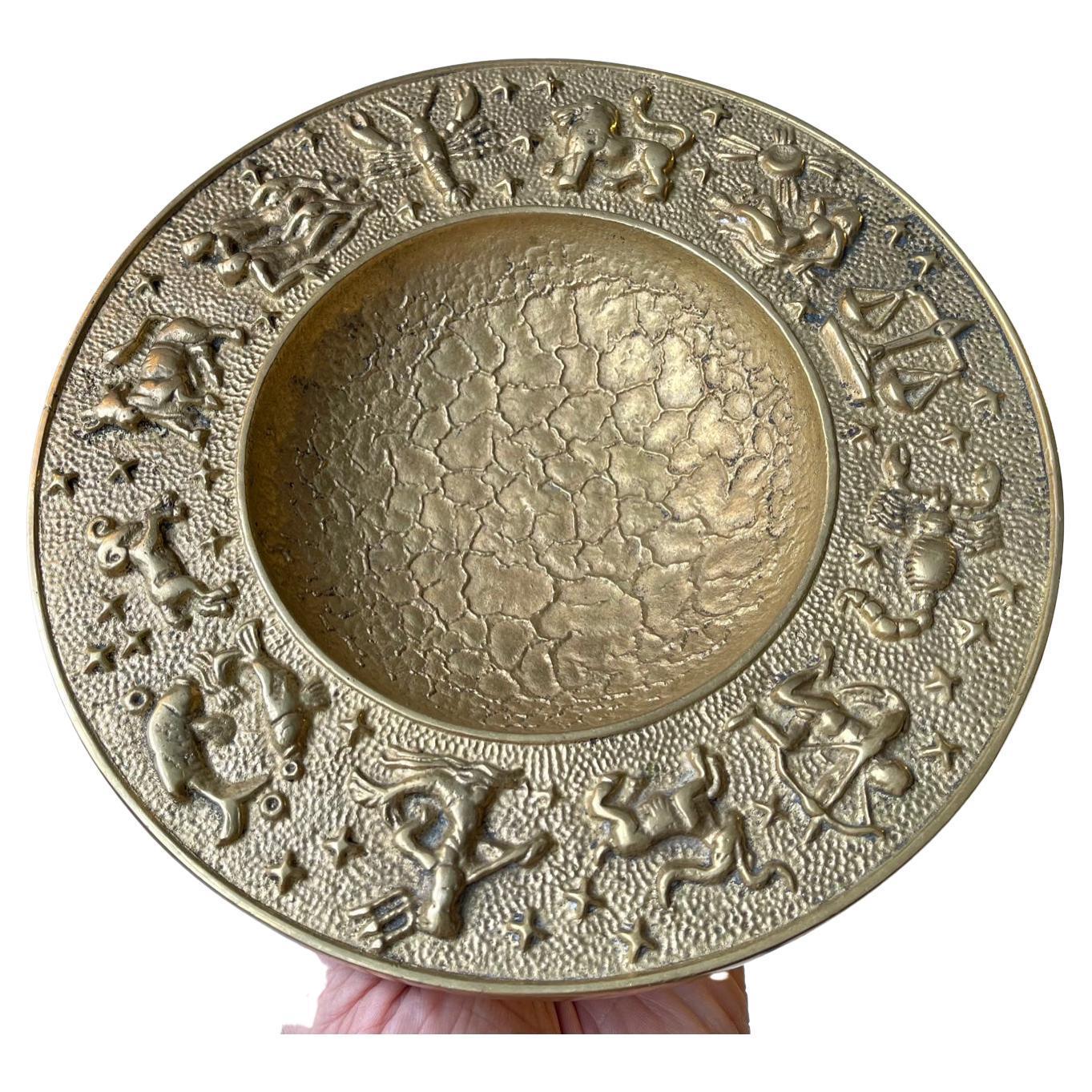 Vintage Danish Zodiac Bronze Bowl with Moon Texturing, 1940s