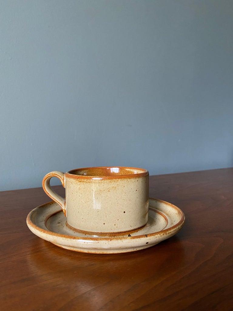 Vintage Dansk Ceramic Coffee Cup and Saucer Set of 8 For Sale 3