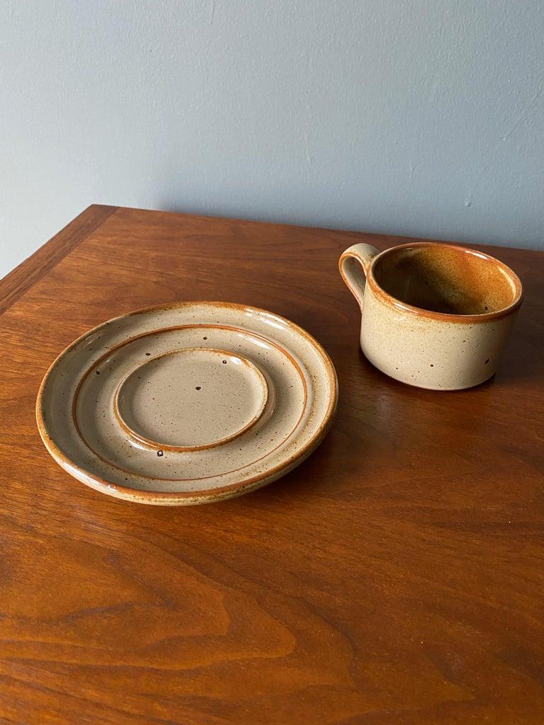 Vintage Dansk Ceramic Coffee Cup and Saucer Set of 8 For Sale 5