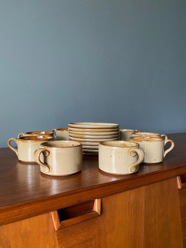 Vintage Dansk cup and saucer set. Service for 8.   Dimensions-  Mugs- 3.75
