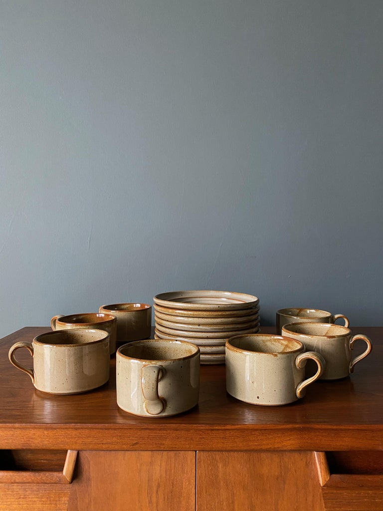 Mid-Century Modern Vintage Dansk Ceramic Coffee Cup and Saucer Set of 8 For Sale
