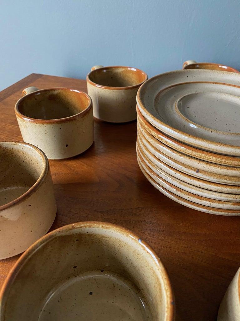 Japanese Vintage Dansk Ceramic Coffee Cup and Saucer Set of 8 For Sale