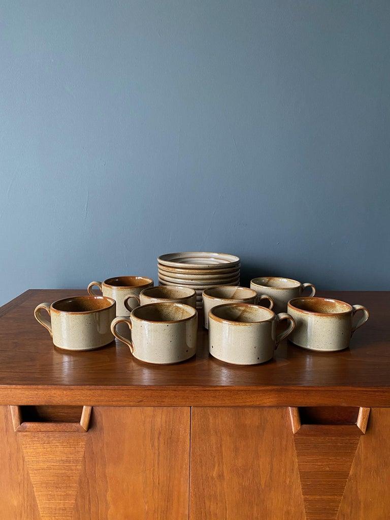 Glazed Vintage Dansk Ceramic Coffee Cup and Saucer Set of 8 For Sale