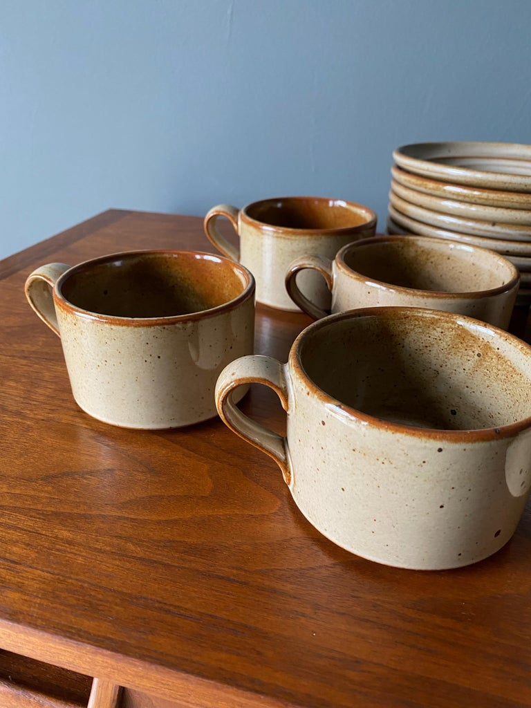 Vintage Dansk Ceramic Coffee Cup and Saucer Set of 8 In Good Condition For Sale In Costa Mesa, CA