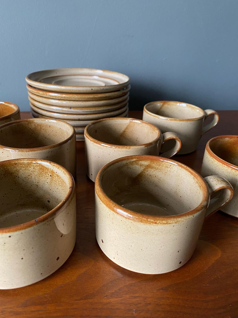 20th Century Vintage Dansk Ceramic Coffee Cup and Saucer Set of 8 For Sale