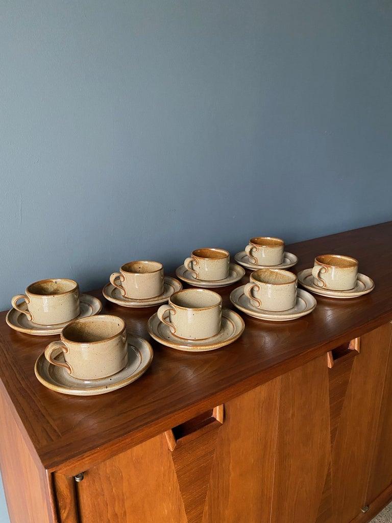 Vintage Dansk Ceramic Coffee Cup and Saucer Set of 8 For Sale 1