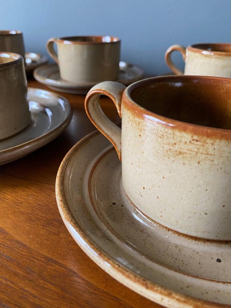 Vintage Dansk Ceramic Coffee Cup and Saucer Set of 8 For Sale 2