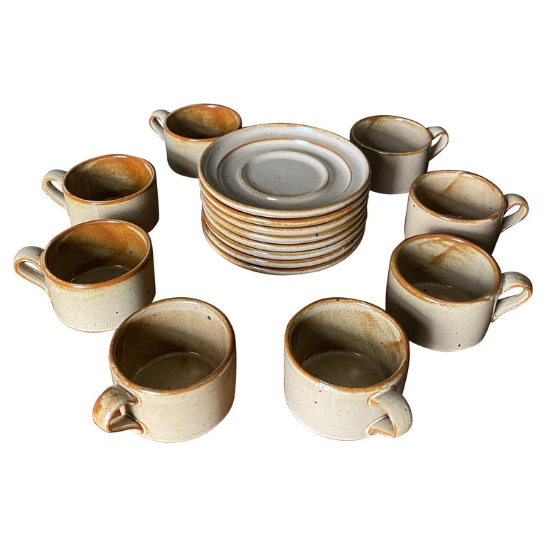 Vintage Dansk Ceramic Coffee Cup and Saucer Set of 8 For Sale