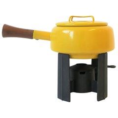 Vintage Dansk Yellow Enamel Fondue Pot