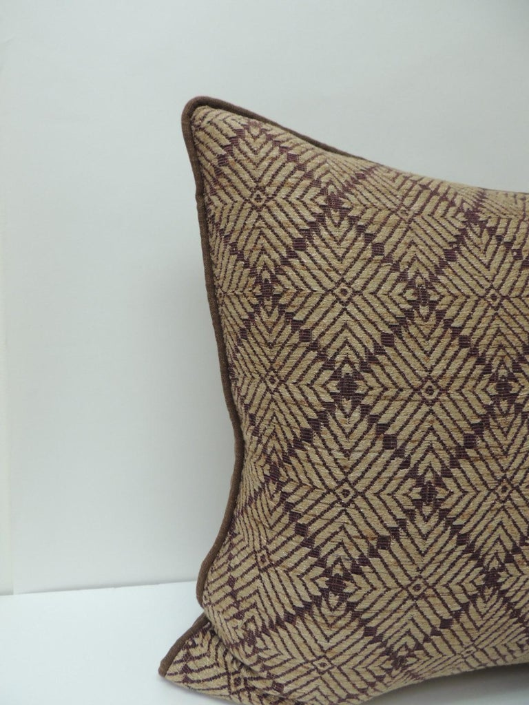 Vintage dark brown African artisanal textile embroidery decorative pillow with dark brown textured linen backings and custom trim all around, same as backing. Decorative pillow handcrafted and designed in the USA. Custom made pillow inserts.
