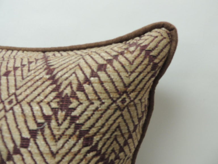 Tribal Vintage Dark Brown African Woven Artisanal Textile Embroidery Decorative Pillow For Sale