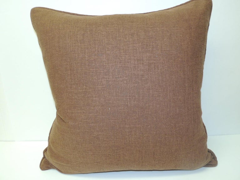 Hand-Crafted Vintage Dark Brown African Woven Artisanal Textile Embroidery Decorative Pillow For Sale