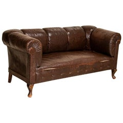 Vintage Dark Brown Leather Sofa Loveseat