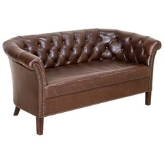 Vintage Dark Brown Leather Sofa Loveseat from England