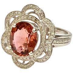 Vintage Dark Red Tourmaline & Diamond Flower Halo 14 Karat White Gold Ring-Sz 7