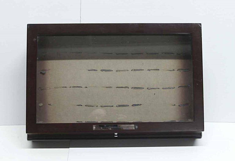 Vintage Dark Tone Wood and Glass Cigar Box or Jewelry Display Cabinet In Good Condition For Sale In New York, NY