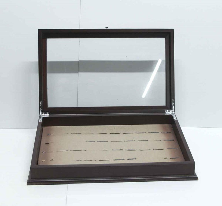 Late 20th Century Vintage Dark Tone Wood and Glass Cigar Box or Jewelry Display Cabinet For Sale