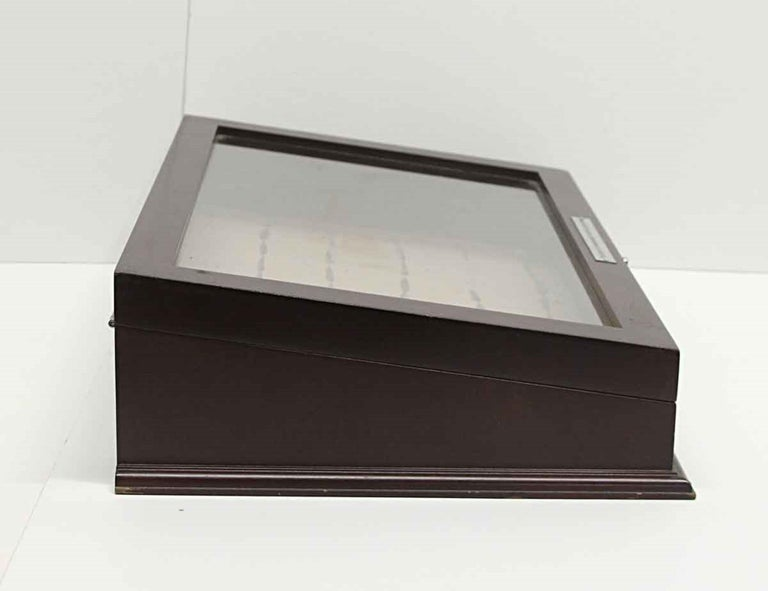 Vintage Dark Tone Wood and Glass Cigar Box or Jewelry Display Cabinet For Sale 2