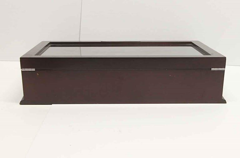 Vintage Dark Tone Wood and Glass Cigar Box or Jewelry Display Cabinet For Sale 3