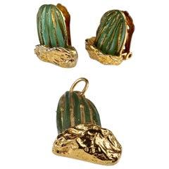 Vintage DAUM by HILTON McCONNICO Cactus Glass Earrings Pendant Necklace Set