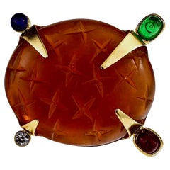 Vintage DAUM by Hilton McConnico Jewelled Glass Brooch