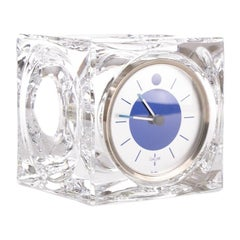 Vintage Daum Lead Crystal Cube Desk Clock, c.1970