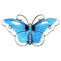 Vintage David Andersen Norway Butterfly Enamel Sterling Silver Brooch