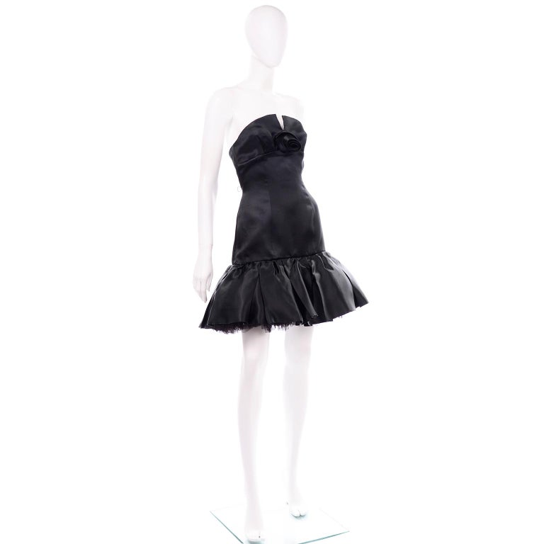 Vintage David Fielden London Silk Short Strapless Little Black Poof Dress In Excellent Condition For Sale In Portland, OR
