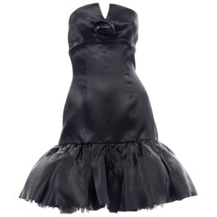 Vintage David Fielden London Silk Short Strapless Little Black Poof Dress