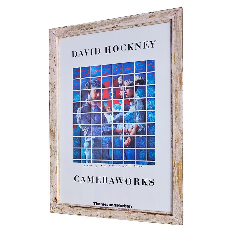 Vintage David Hockney Exhibition Poster in Antique Frame, England, 1982