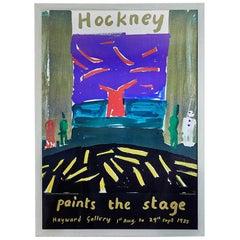 Vintage David Hockney Exhibition Poster in Antique Frame, United Kingdom, 1985