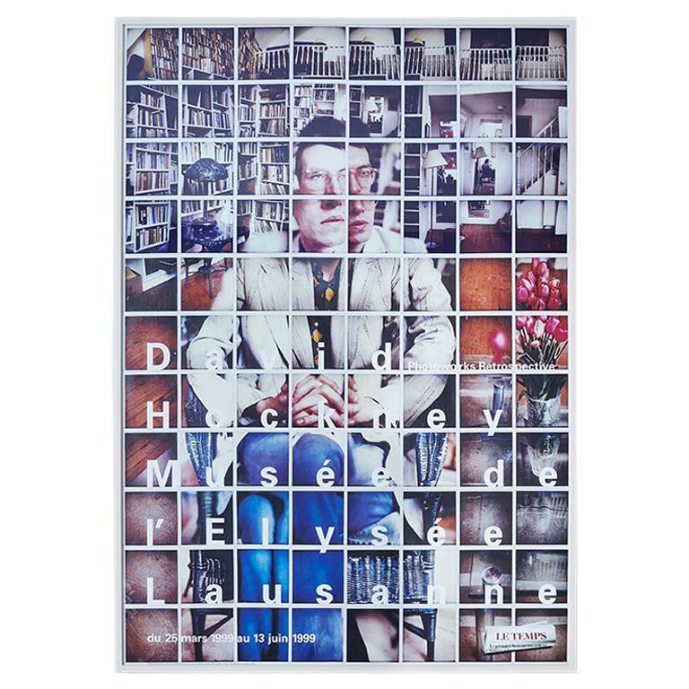 """Vintage David Hockney """"Photoworks Retrospective"""" Poster, Switzerland 1999 For Sale"""