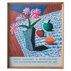 Vintage David Hockney 'Still Life with Flowers' Exhibition Poster, 1988