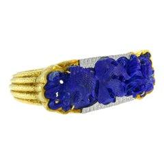 Vintage David Webb 18k Gold Bangle Bracelet Lapis Lazuli Diamond