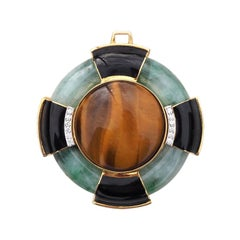 Vintage David Webb 18k Gold Plat Tiger's Eye Jade Black Onyx and Diamond Pendant