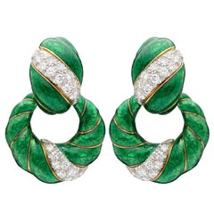 Vintage David Webb Diamond and Enamel Dooknocker Earrings