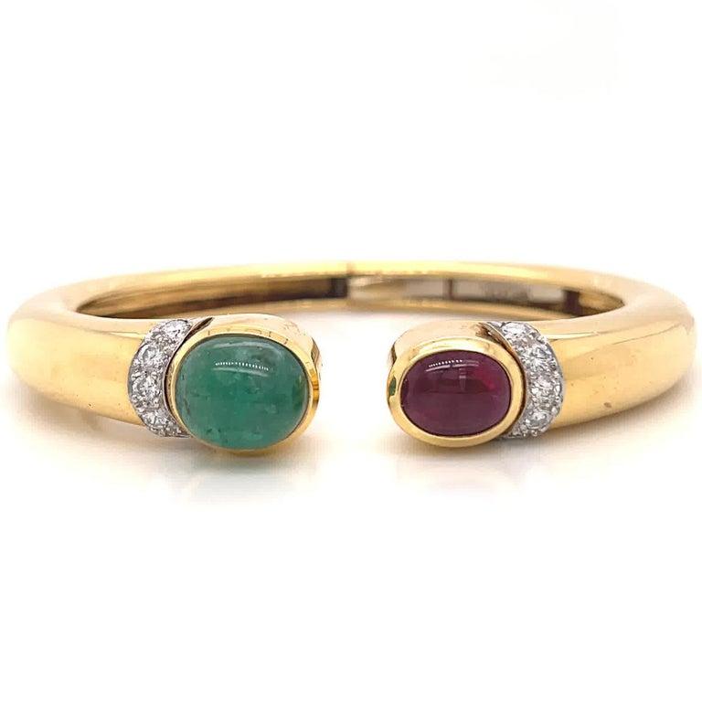 Cabochon Vintage David Webb Emerald Ruby Diamond Gold Bangle For Sale