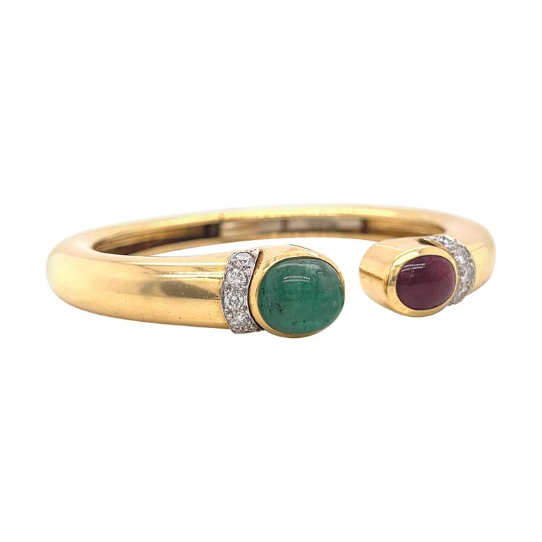 Vintage David Webb Emerald Ruby Diamond Gold Bangle For Sale