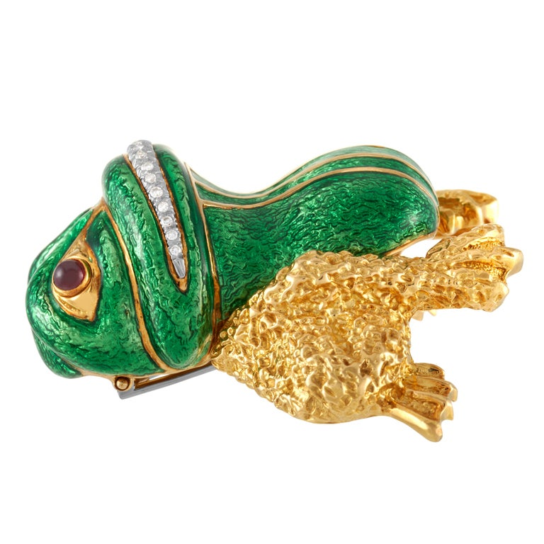 Round Cut David Webb Green Enamel Bull frog Brooch with Diamonds & Rubies in 18KY Gold For Sale