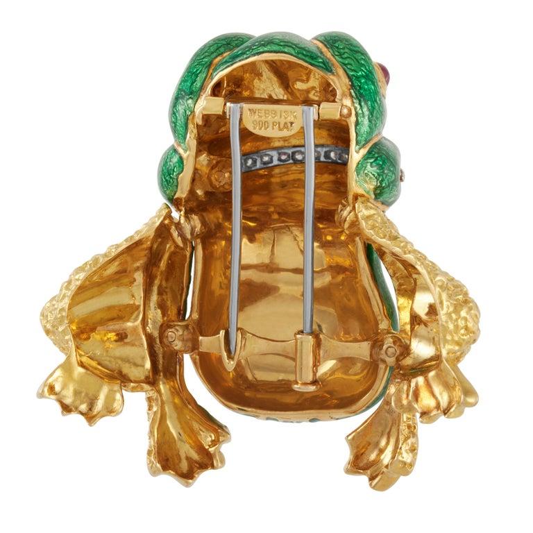 Women's or Men's David Webb Green Enamel Bull frog Brooch with Diamonds & Rubies in 18KY Gold For Sale