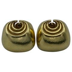Vintage David Webb Yellow Gold Clip On Earrings