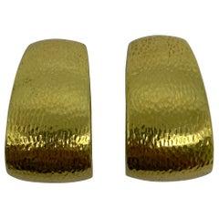 Vintage David Webb Yellow Gold Hoop Clip- On Earrings